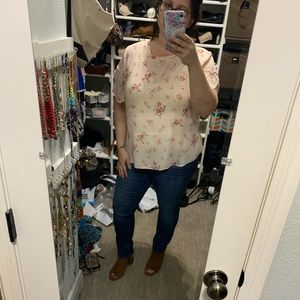 Cream and pink floral blouse